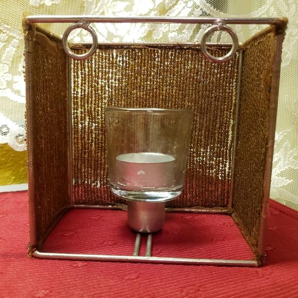Vtg Tealite Candleholder Seedbeads, Metal & Glass!